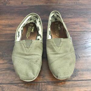 TOMS olive green slip on shoes